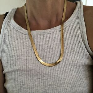 vintage 80s  90s gold Plated Necklace Thick Chain Shiny Layer