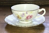 LIPPER & MANN VIENNA WOODS FOOTED CUP & SAUCER FLORAL EMBOSSED SCROLL GOLD TRIM