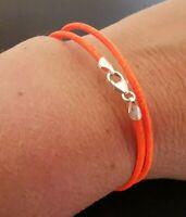 "2mm Neon Orange Leather Double Wrap Bracelet Sterling Silver Lobster Clasp 7"""