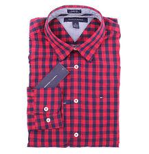 Tommy Hilfiger Men Long Sleeve Button Down Plaid Custom fit Casual Shirt $0 Ship