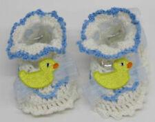 Baby Boys Girls White blue Booties Pram shoes Blue white yellow  crochet wool