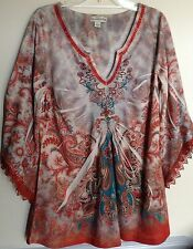 ONE WORLD - Live And Let Live  Top Shirt Blouse -- Med  Embroidered Lace