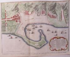 OLD PRINT MESSINA CITY PLAN MAP by BASIRE c1740's SICILY ITALY for TINDAL 18th C