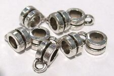 20 x Tibetan Silver Plated Charm Holders - Bail Hangers - NF - Sliders