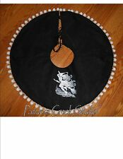 "WITCH ON BROOM Embroidered Tree Skirt,Lamp Skirt 26""dia,Halloween,Prim,Fall,Goth"