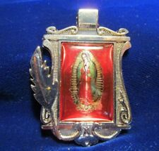 Our Lady of Guadalupe Medal Chrome Plated Red/Green Resin Weighty