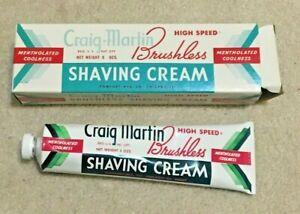 Vintage Scarce 1960's Craig Martin Brushless Shaving Cream Box & Tube, 5 OZ