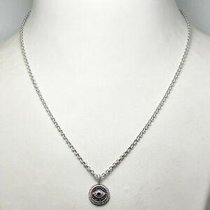 New! Judith Ripka Sterling Silver Sapphire Evil Eye Pendant (5201)