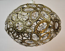 Antique Brass Metal Jewelled Moroccan Style Pendant Light Shade