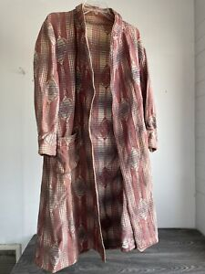 Vtg Smoking Jacket Robe Cotton Unique Pattern Cover Up