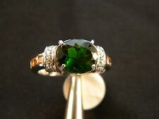 Chrome Diopside & 14 Topaz Cocktail Ring 3.75TCW 925 Silver Sz 9, 6 channel set
