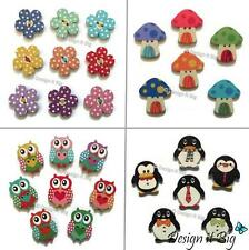 Wooden Buttons with 2 Holes - Polka Dot Flowers - Penguins - Owls - Toadstools