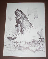 """McMICHAEL signed whale print Breeching Right Whale 90/200 VF 12"""" x 16"""""""