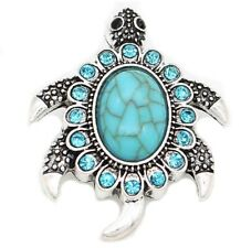 Silver Turquoise Turtle Blue Rhinestone 18mm Snap Charm Button For Ginger Snaps