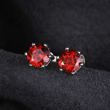 5mm Round Genuine Garnet Sterling Silver Stud Fashion Earrings