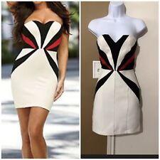VENUS Sz 2 White Black & Red Color Block Strapless Bodycon Dress Back Zipper