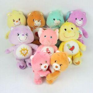 Care Bear Plush Lot of 8 Love Laugh Hug Wish Racoon Elephant Monkey 2002 2003