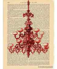 Red Chandelier Art Print on Antique Book Page Vintage Illustration Fixture