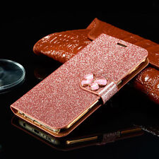 Luxury Bling Leather Magnetic Flip Stand Wallet Cover Case For iPhone Samsung
