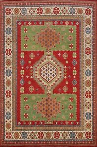 Geometric Super Kazak Vegetable Dye Wool Oriental Area Rug Hand-Knotted 8x10 ft