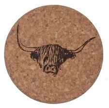 Cork Highland Cow's Head Coaster. Set of 6