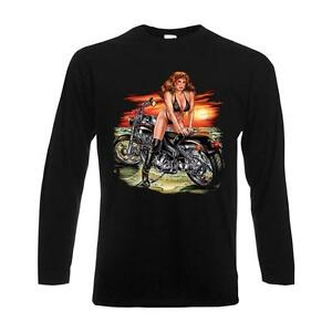 Longsleeve Girl over Motorcycle, Biker langarm Funshirt Motorrad USA (ASG00290)