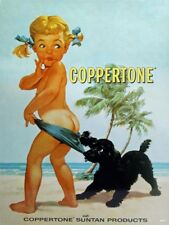 Coppertone Girl Suntan Lotion Vintage Style Ad Metal Sign