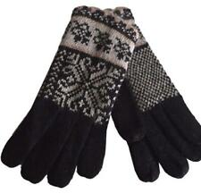 Black Gloves Ladies Fair Isle Style knit Knitted Wool Angora Nordic Patterned