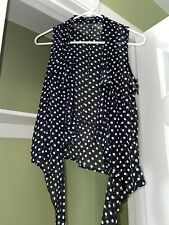 Junior's HeartSoul black and white polka dot tie-front blouse size medium
