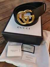 Black leather Gucci belt with gold double G logo buckle Men Used