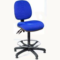 Blue Fabric High Tall Office Swivel Chair Workbench Draughtsman. Castors No Arms