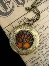 Tree of Life LOCKET Necklace Pendant Gothic Orange Bronze Vintage Fantasy Punk