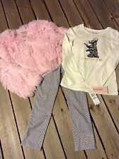 Juicy Couture pink fluffy jacket set leggings top pants 3 pc New sz 6