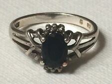 Sterling Silver Blue Spinel Ring Size 5.5