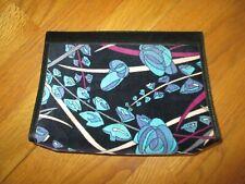 Vintage Emilio Pucci Black Blue Floral Velvet Clutch Purse Case
