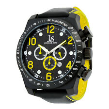 Joshua and Sons Black Dotted Pattern Chronograph Mens Watch JS-14-YL