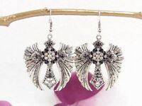 Gothic Antique Silver Angel Wing Cross Earring made with Swarovski Crystal