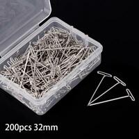Pop 50/100/200Pcs 32mm Silver T Pins For Knitting Modelling Wigs Sewing Craft SS