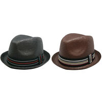 Men's Upturn Pinched Paper Woven Straw Fedora - Black or Brown FREE SHIP