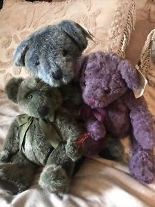 3 Russ Berrie Bears From The Past Green Purple Blue
