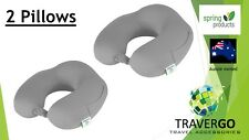 2 x Travel neck pillow- Memory Foam cloth GREY  - Plane Train Car  Bus and bed
