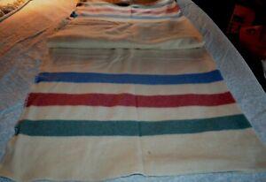 "L.L.Bean Wool Embroidered Fringe Blanket Throw Stripes 62""x 92"""