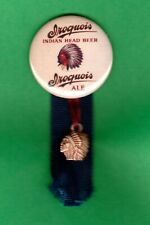 """Iroquois Beer Style Beer Advertising 1-3/4"""" Rp Pin w/ """"Puffy"""" Indian Charm"""