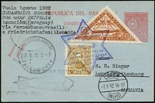 Zeppelin Paraguay 1932 5. Südamerikafahrt Postkarte ZuF Lorch Si 176 / 672