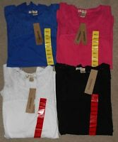 DKNY Jeans Lace Trimmed Short Sleeve Knit Top Asst Colors & Sizes NWT