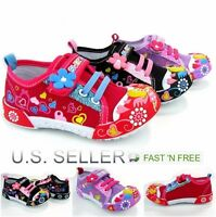 Girls Infant Toddler Little Kid Baby Flower Canvas Soft Sole Design Strap