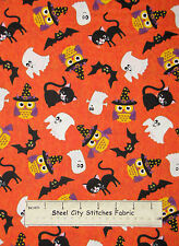 Halloween Owl Black Cat Bat Fabric 100% Cotton By The Yard Trick Or Treat Orange
