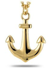 Men's Gold Stainless Steel Large Anchor Necklace-Hebrews 6:19