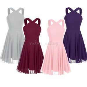 Women Ladies Evening Dress Chiffon Criss-cross Wedding Bridesmaid Short Dresses