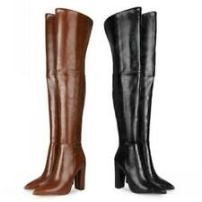 Women's Punk Over The Knee Boots Thigh High Knight Pointy Toe Block Heel Party L